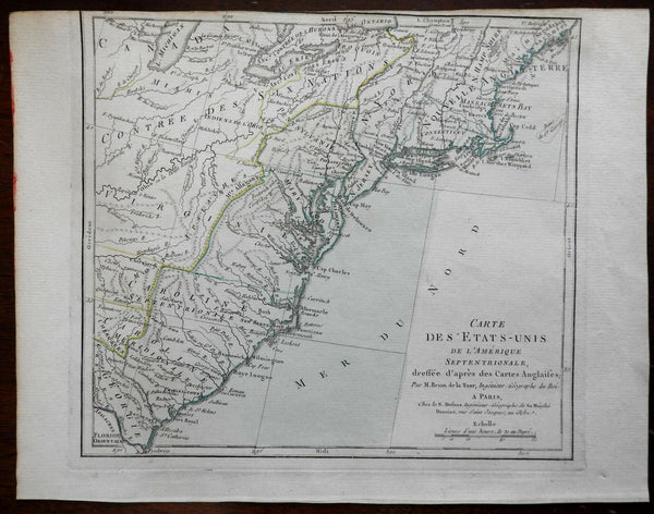 Early United States 13 Colonies 1785-90 Brion de la Tour Desnos French map