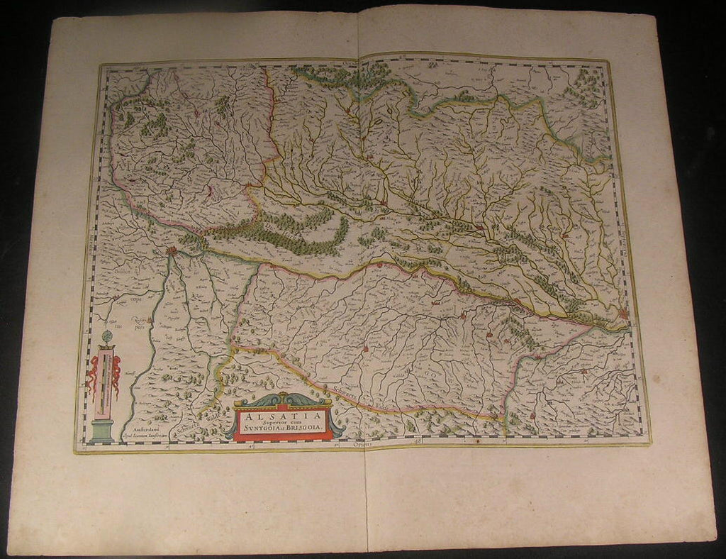 Alsace Northern France South Germany Sundgau 1644 Jansson fine antique color map