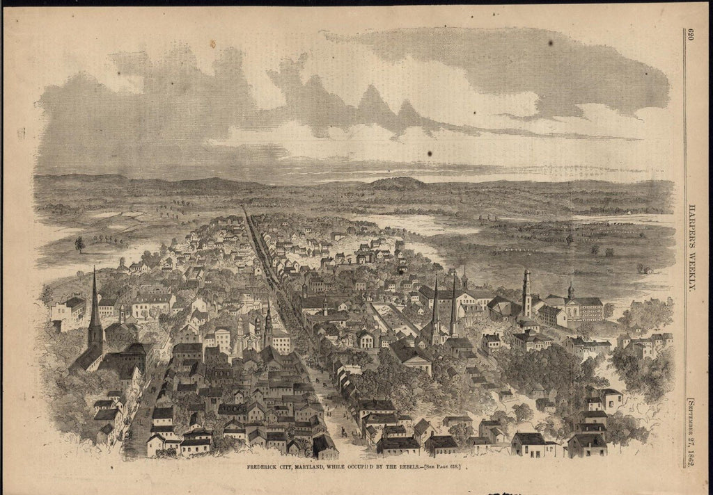 Frederick City Maryland Confederate Army 1862 antique birds eye view print