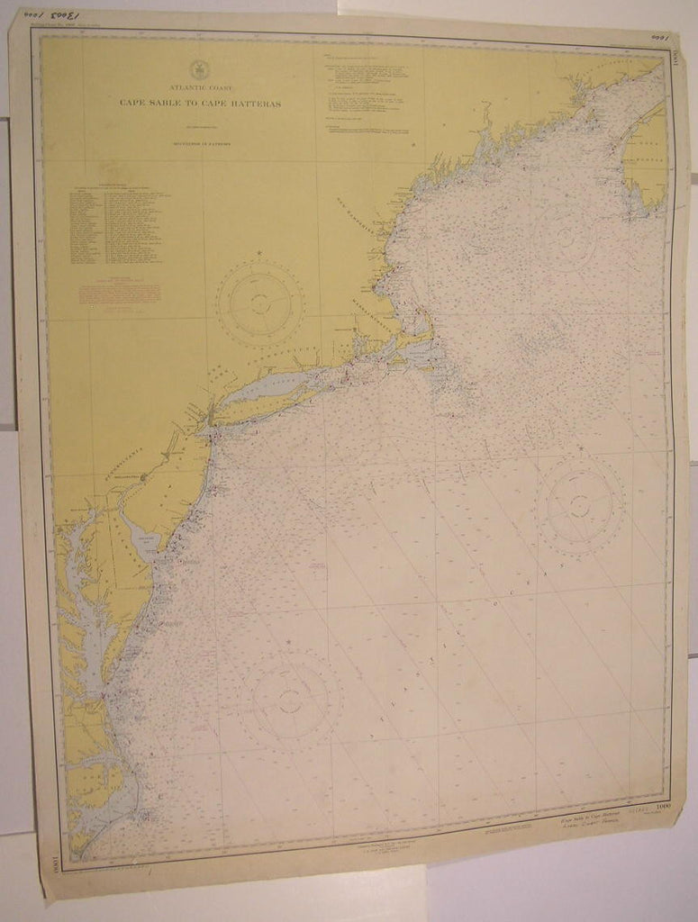 Nova Scotia Long Island Pamlico Sound Eastern Seaboard 1943 vintage nautical map