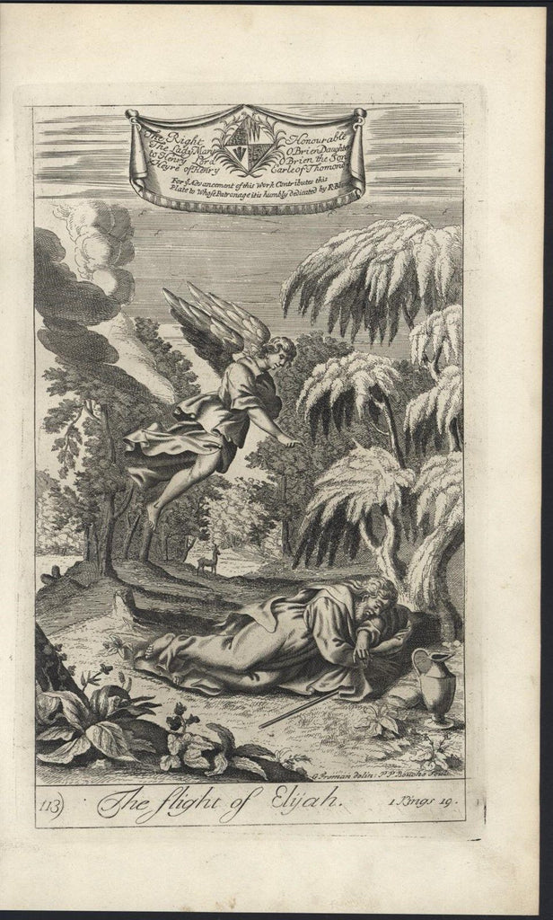 Flight of Elijah Angel with wings c.1700 Blome original antique Religious print