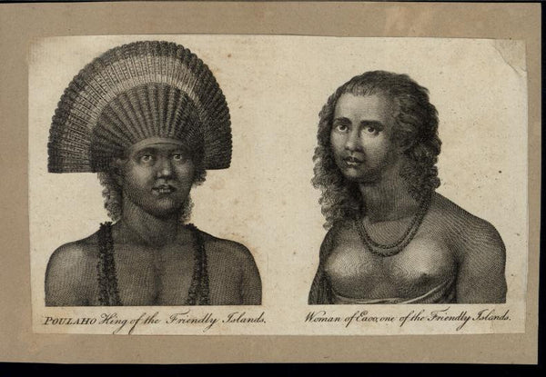 King of the Friendly Islands & Nude Native Woman c.1780 antique engraved print