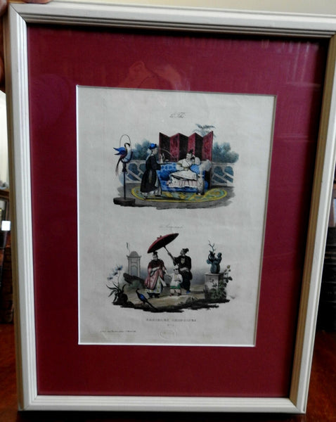 China Chinese Domestic Scenes Tea & Promenade 1830 framed French ethnic views