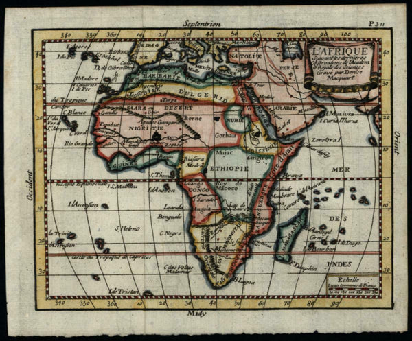 Africa continent c.1680-90 scarce Macquart engraved miniature map fine color