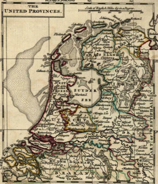 United Provinces Netherlands Nederland 1761 by Ellis uncommon miniature map