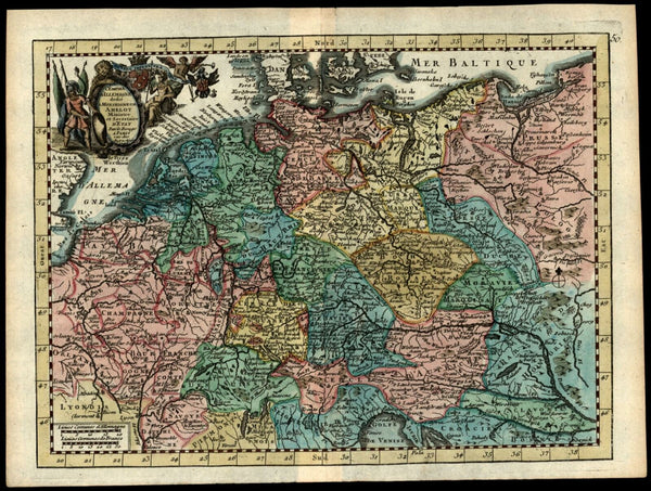 Germany Netherlands Belgium Poland Czechia 1746 Le Rouge decorative map