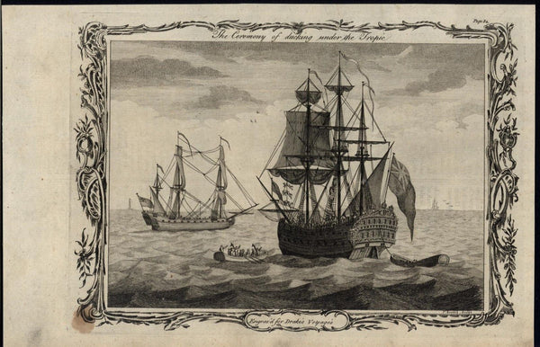 Ceremony of Ducking Under the Tropic Navy Ships  1768 antique engraved print