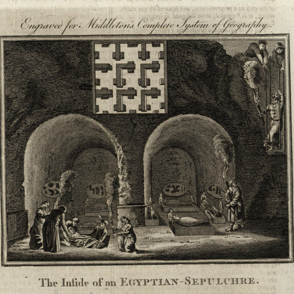 Egyptian Mummies Sepulchre cave death burial custom 1778 nice old engraved print