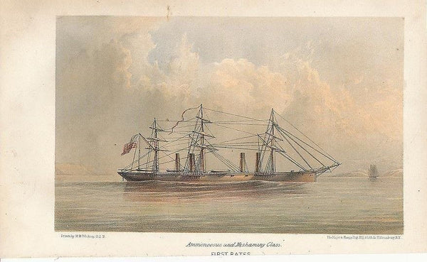 Steam powered sailing ship scarce 1868 original antique color lithograph view