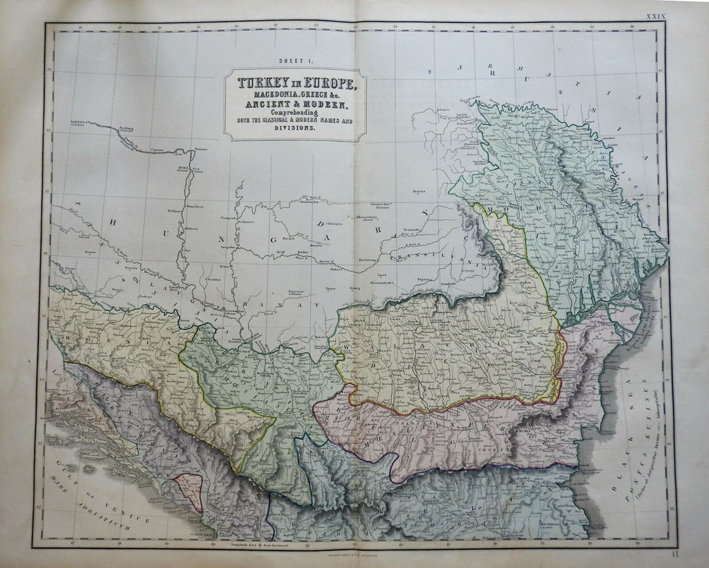 Ottoman Empire Balkans Serbia Bosnia Wallachia Moesia 1855 Philip Historical map