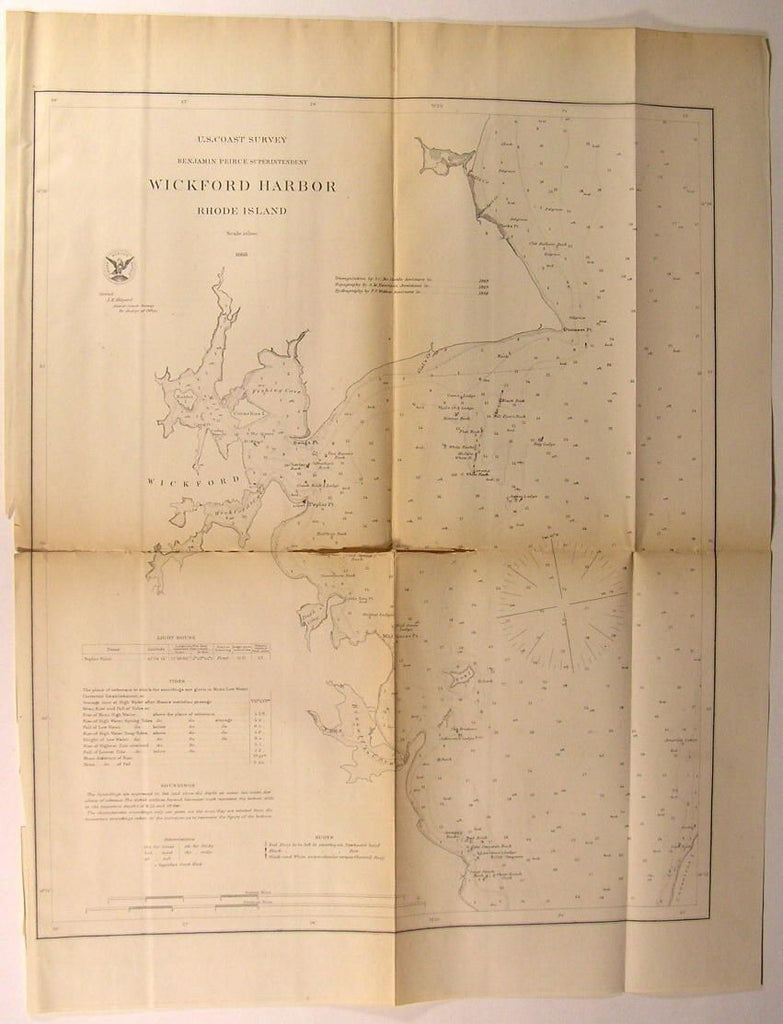 Wickford Harbor Rhode Island Tides Buoys 1868 U.S.C.S. old nautical chart