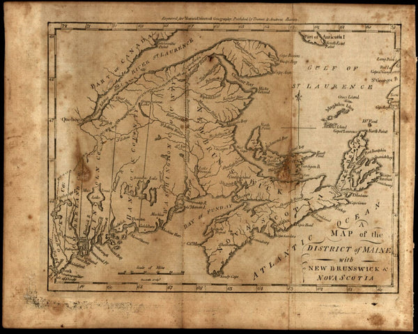 Maine state 1796 as District Amos Doolittle early rare American map Canada coast