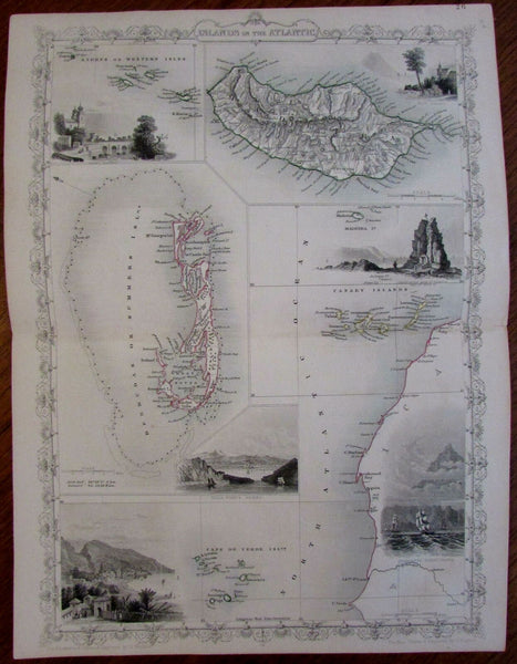 Bermuda Atlantic Islands Madeira Cape Verde Azores c.1855 Tallis decorative map