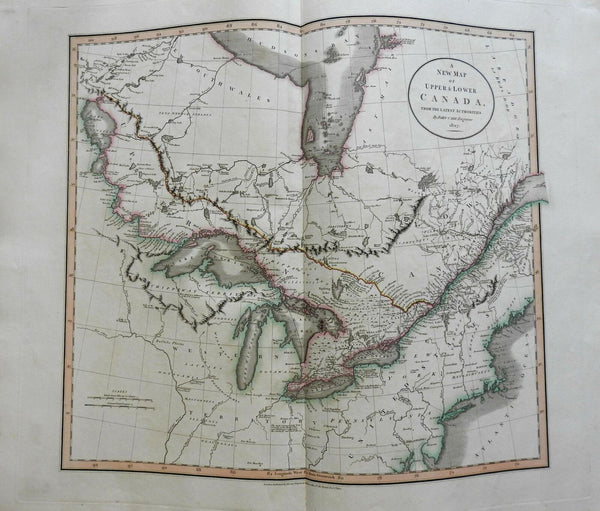 Canada Great Lakes Montreal Quebec Upper & Lower Canada 1807 Cary folio map