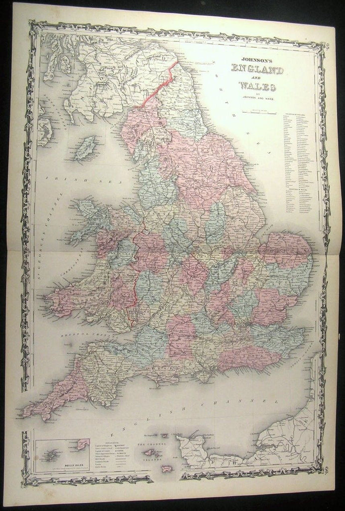 England Wales London Essex Suffolk Devon 1862 large old Johnson antique map