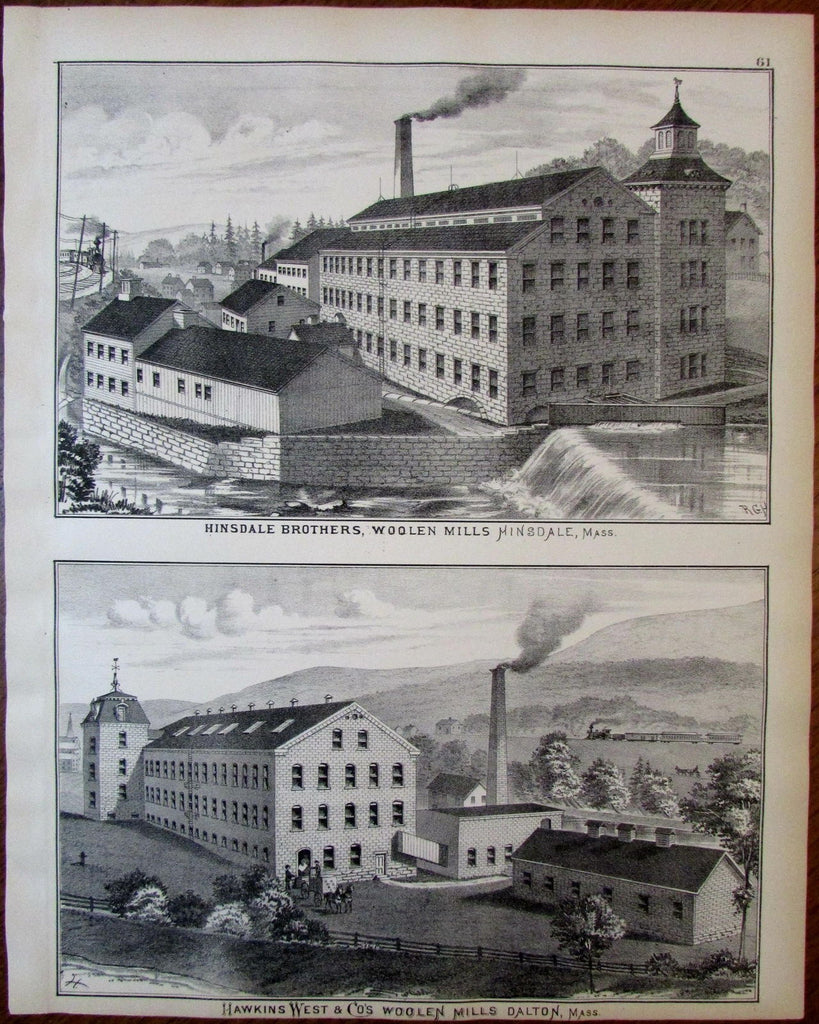 Hinsdale Brothers & Hawkins West & Co Wool Mills Berkshire Mass. 1876 old view