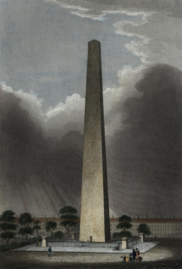 Boston Bunker Hill Monument c.1850 lovely Meyer antique old engraved view