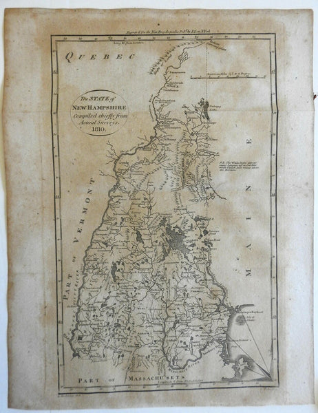 New Hampshire state 1799-1810 Tiebout Anderson Low early American map W & B #190