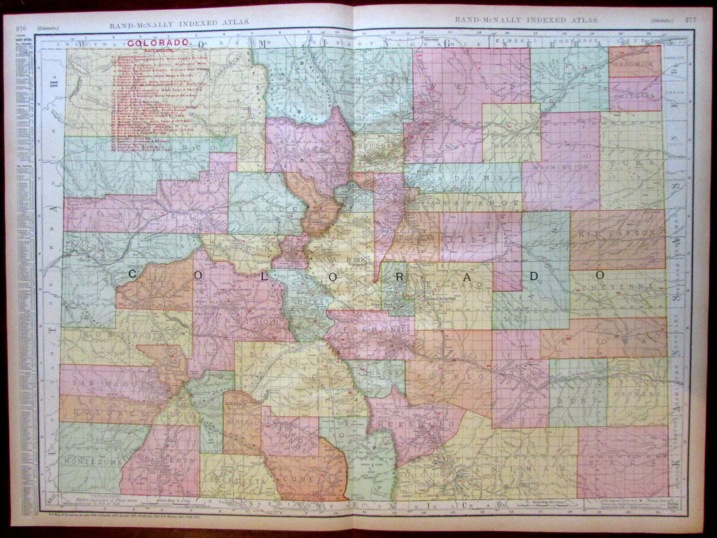 Colorado state by itself Railroads 1908 huge detailed Rand McNally map
