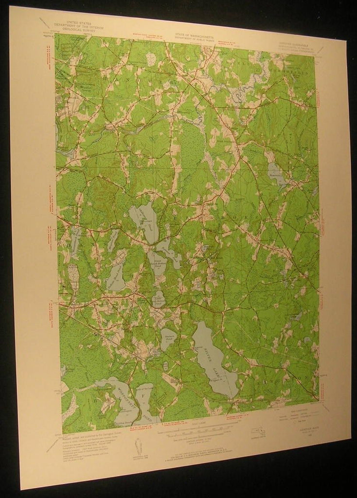 Hanover Massachusetts Indian Head River 1958 antique color lithograph map