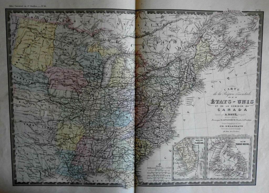 Eastern United States 1875 Brue engraved map hand color