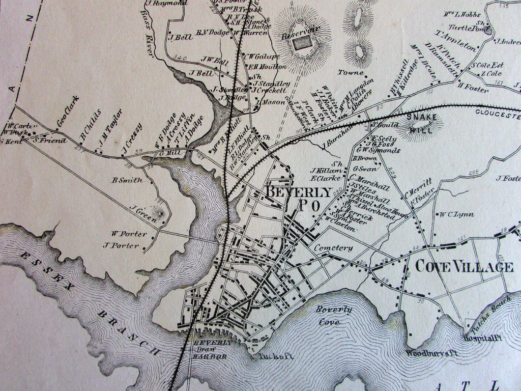 Beveryly North Cove Village Farms PO Essex County Mass. 1872 detailed old map