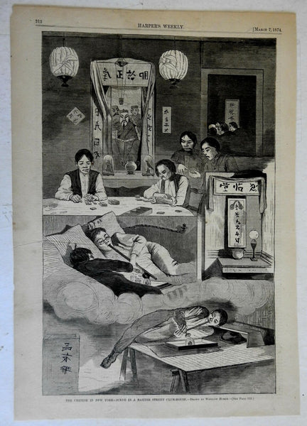 Winslow Homer 1874 Opium Den Scene Chinese Immigrants racist print Harpers
