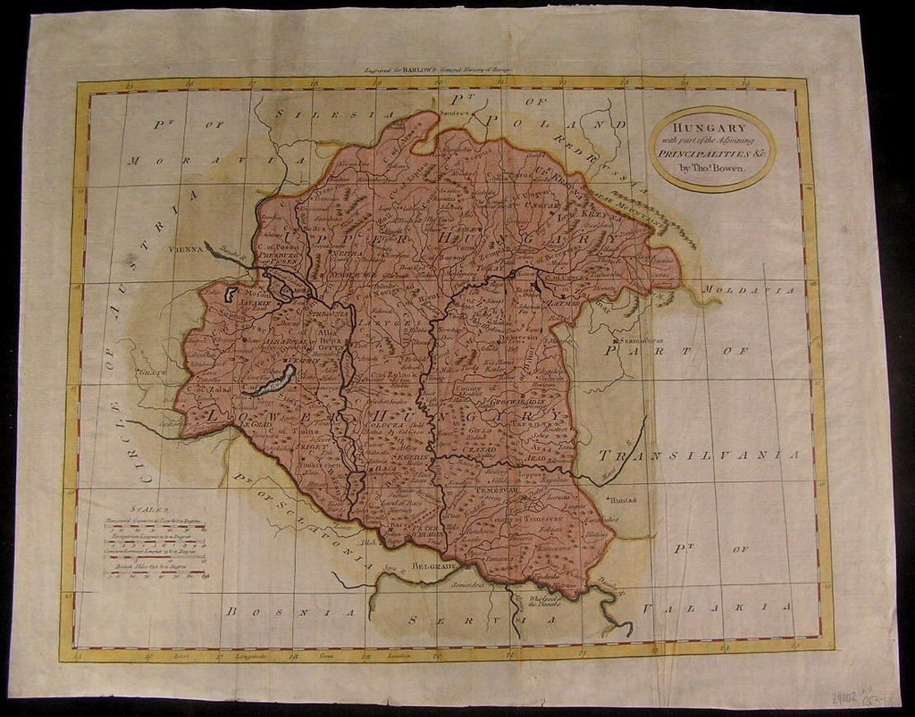 Hungary Serbia Transylvania 1780 by Bowen folio antique map hand color
