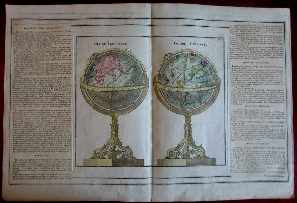 Terrestrial & Celestial Globes 1766 Brion & Desnos attractive map