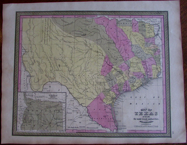 Texas state by itself 1848-9 S.A. Mitchell Burroughs C.S. Williams scarce map
