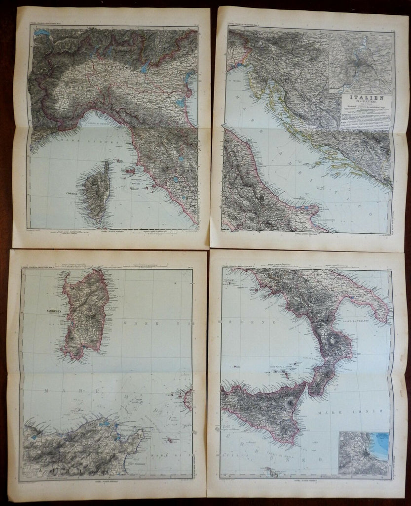 Italy 4 sheet wall map Rome Florence Naples Venice 1891 Stieler detailed map