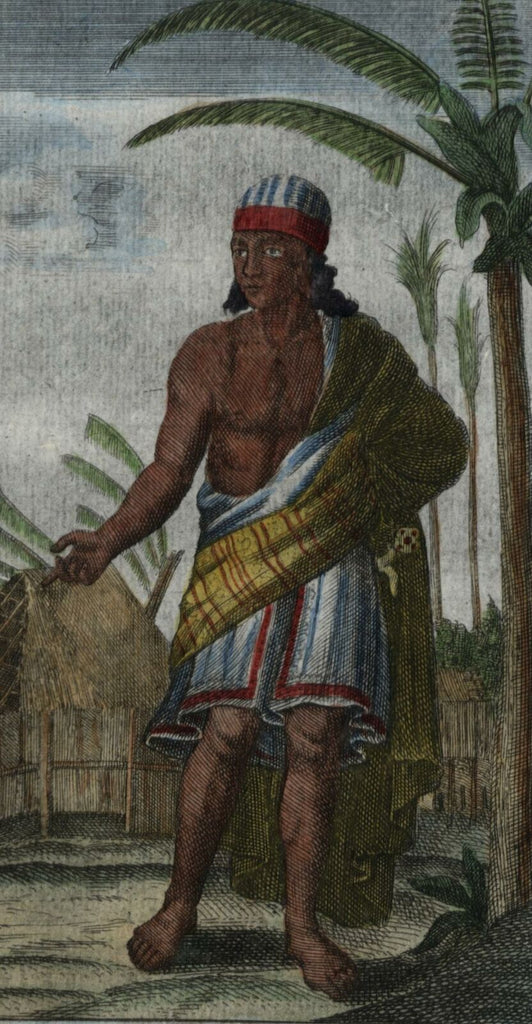 Java Indonesia native c.1726 Moll old ethnic engraved hand color print