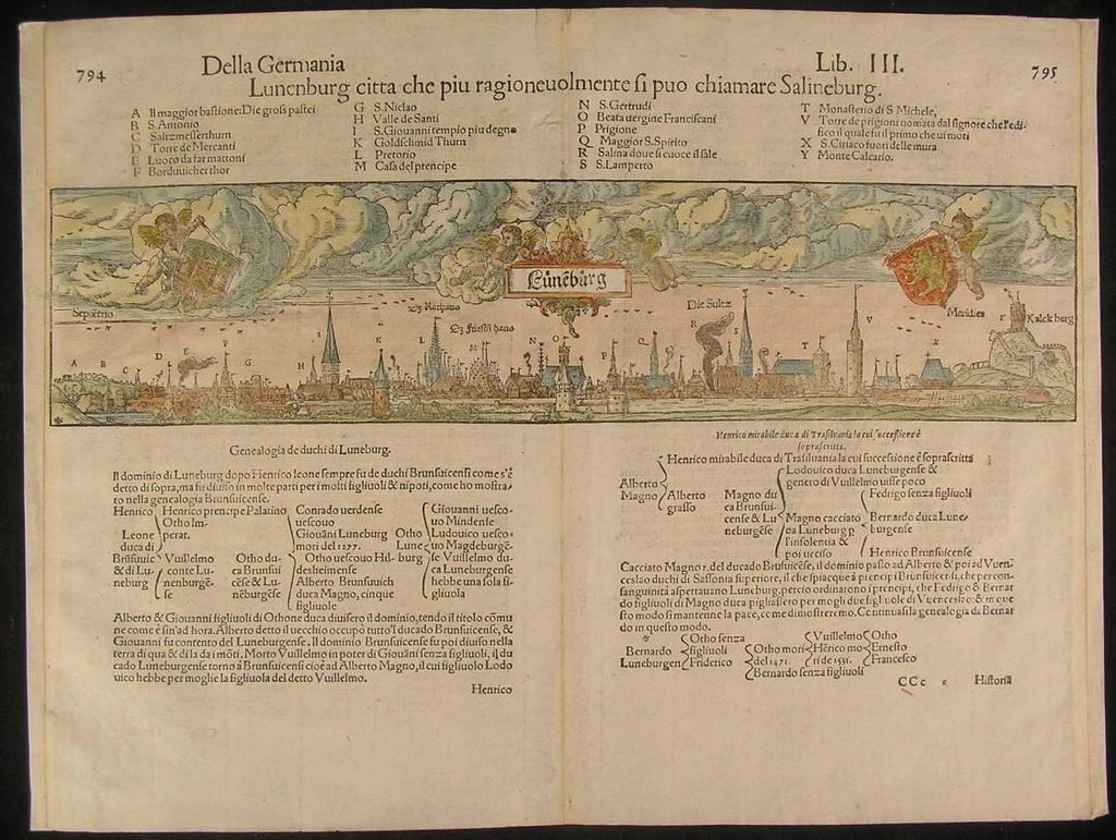 Luneburg Saxony Germany c.1590-99 antique wood engraved hand color city plan