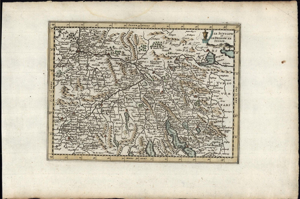Breisgau & Sundgau Switzerland 1700 rare antique engraved hand color map