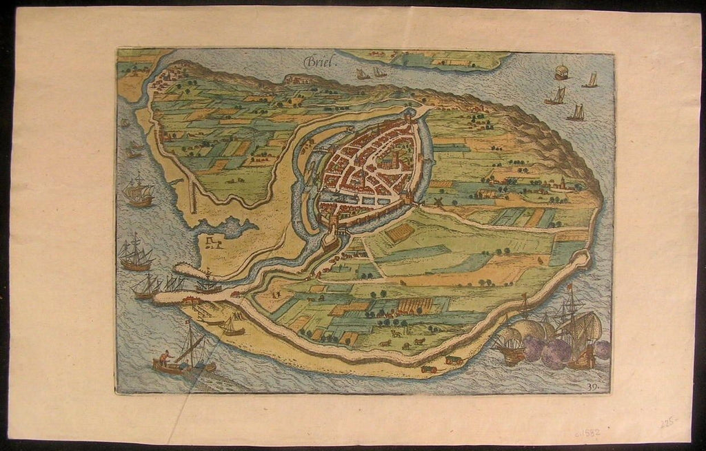 Briel Netherlands 1582 lovely original antique city plan by Guicciardini