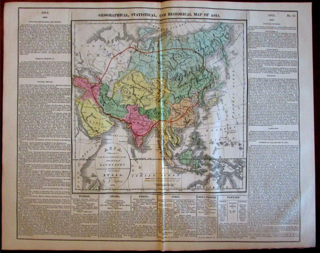 Asia Geographical Statistical Historical facts India China 1821 Carey large map