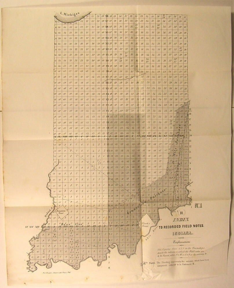 Indiana Index Recorded Field Notes Townships c. 1849 U.S.G. old state survey map