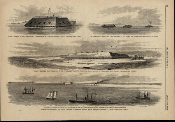 Blockading Fleet Charleston Batteries Ironclads 1863 great old print for display