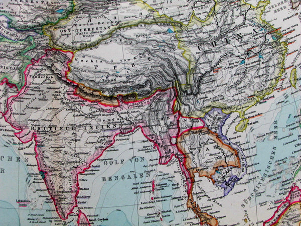 Asia Russian Chinese Empire British India Siam Arabia Japan 1891 old Stieler map