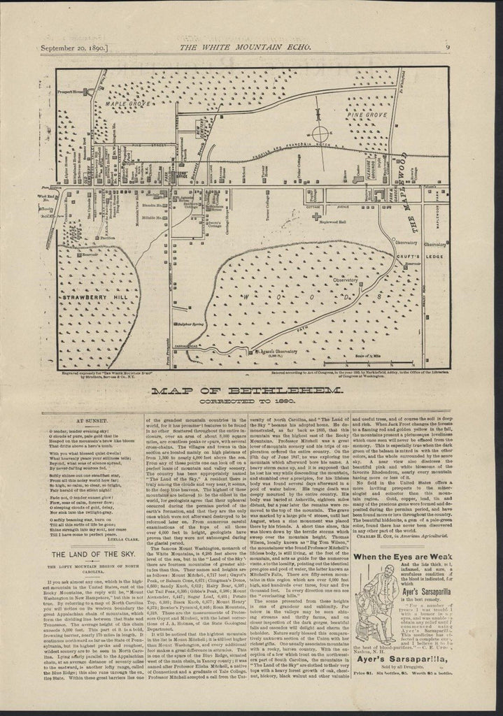 Bethlehem New Hampshire 1890 rare detailed antique White Mountain town map