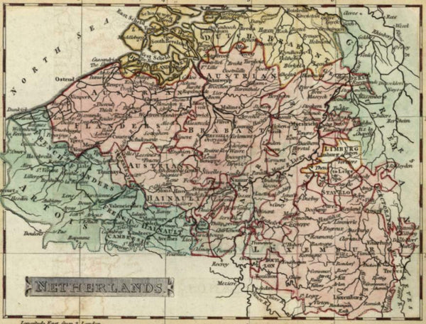 Netherlands Belgium Brabant Artois Luxemburg 1802 Russell miniature antique map