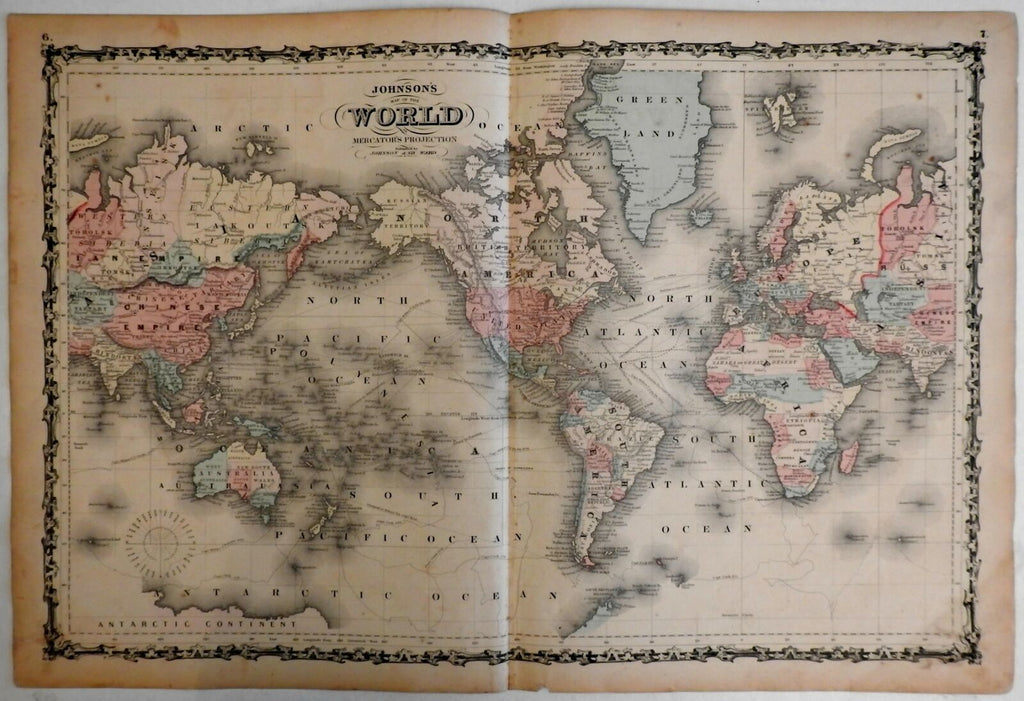 World Map Mercator Projection explorer's ocean tracks 1862 Johnson & Ward map