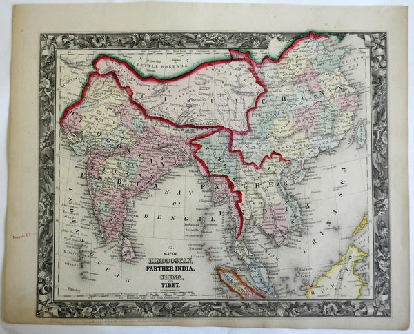 British Raj India Southeast Asia Qing Empire China Tibet 1860 Mitchell map