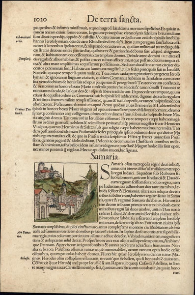 Samaria Holy Land c.1552 Munster rare city view w/ orig. early hand color