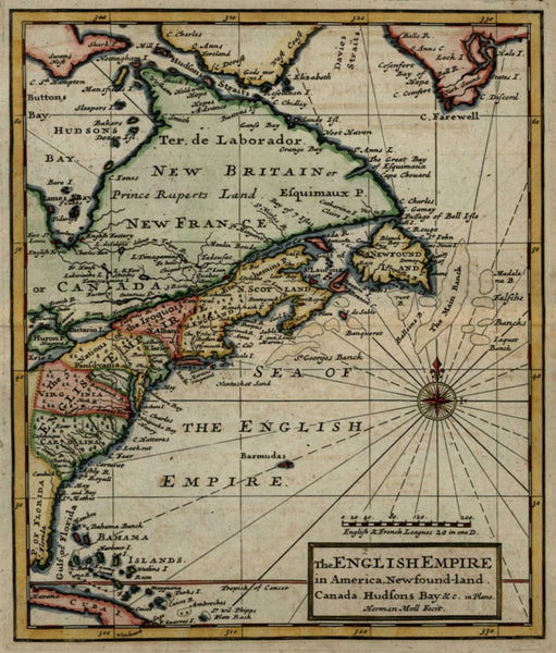 English Empire in North America 13 Colonies 1713 Moll miniature map lovely color