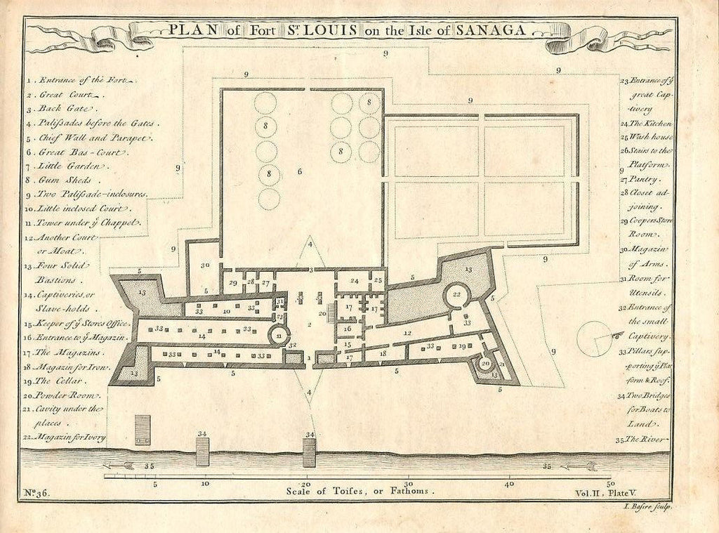 Floor plan of Fort St. Louis Isle of Sanaga Africa 1745 antique engraved print