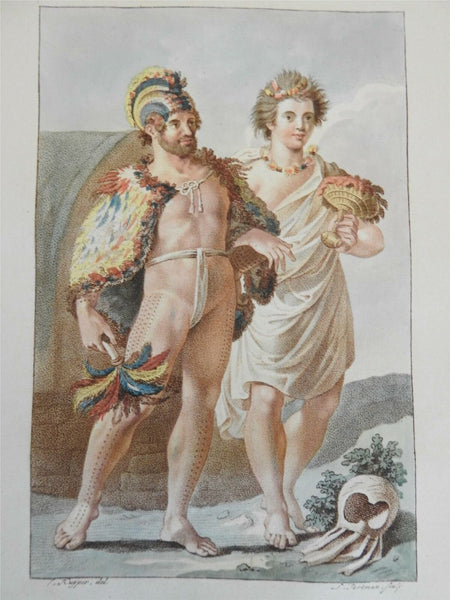 Hawaiian Sandwich Islanders Royal couple 1802 lovely rare costume print