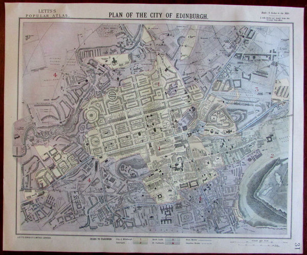Edinburgh Scotland city center detailed 1883 Lett's SDUK fine large city plan