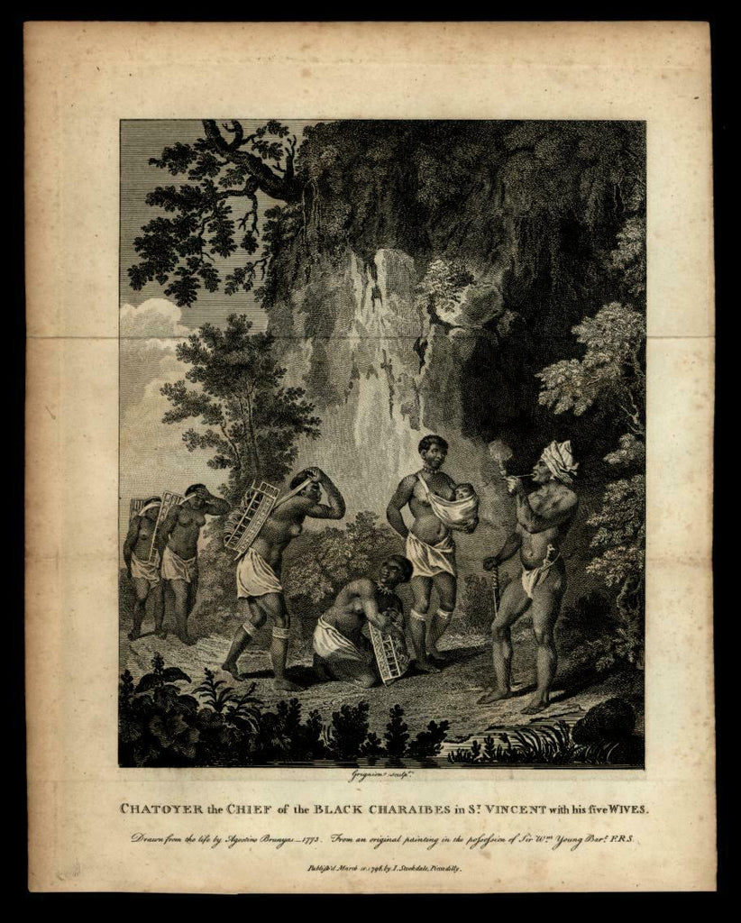 St. Vincent island Caribbean 1796 leader and family ethnic view engraved print