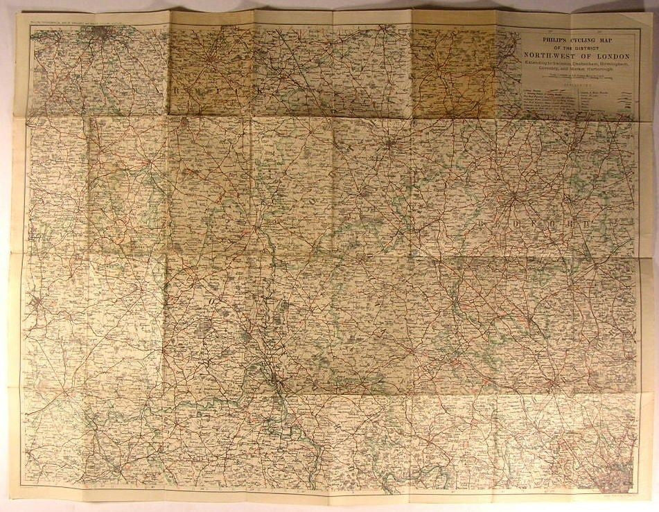 bicycling Map District Northwest of London England 1910 old linen folding map